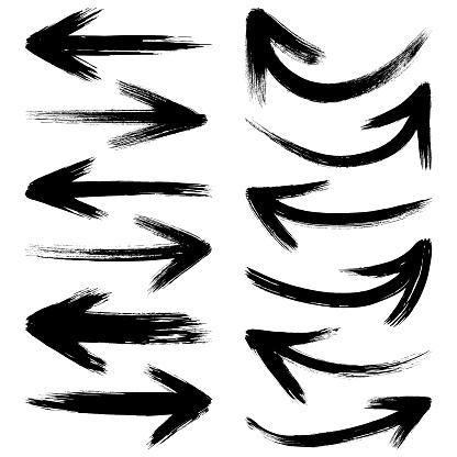 Vector arrows, grunge brush strokes