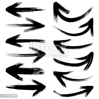 Brush stroke set of black arrows. Vector design elements, different shapes. One color - black. Isolated black images on white background.