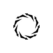 Vector arrows in a circle, vicious circle, infinity sign, reloader icon, black sign isolated on white background, simple symbol.