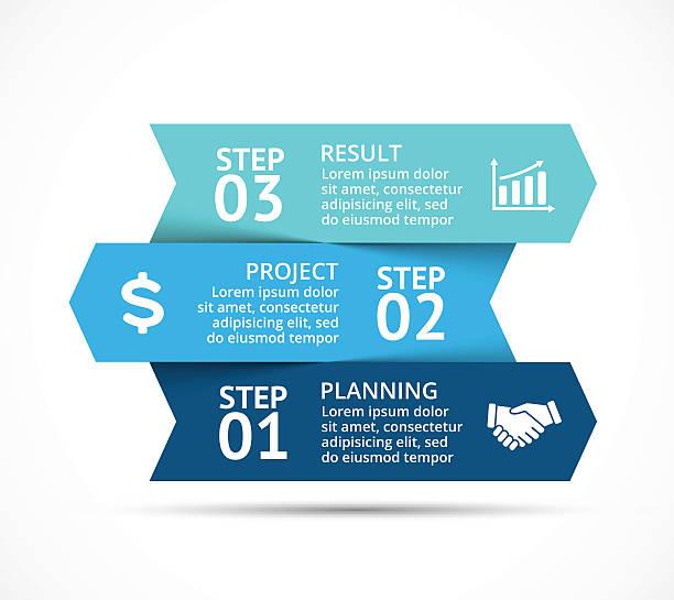 vector arrows infographic, diagram chart, graph presentation. business concept with - drei stock-grafiken, -clipart, -cartoons und -symbole