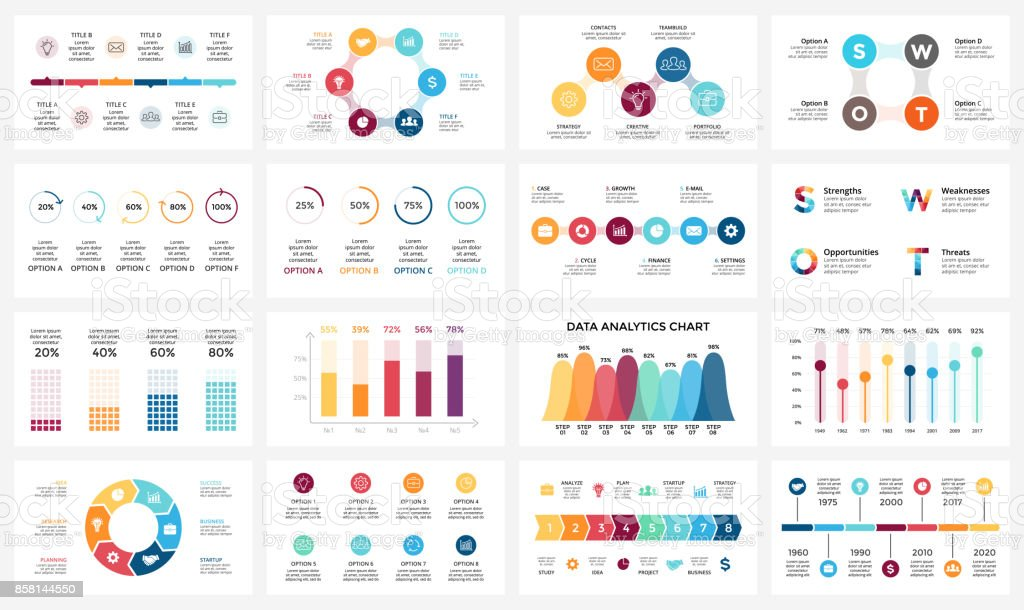 Vector arrows infographic, diagram chart, graph presentation. Business report with 3, 4, 5, 6, 7, 8 options, parts, steps, processes. Timeline. Data analytics. Percentage status. Growth success concept - ilustração de arte vetorial