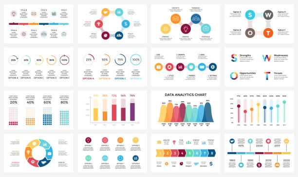 Vector arrows infographic, diagram chart, graph presentation. Business report with 3, 4, 5, 6, 7, 8 options, parts, steps, processes. Timeline. Data analytics. Percentage status. Growth success concept vector art illustration