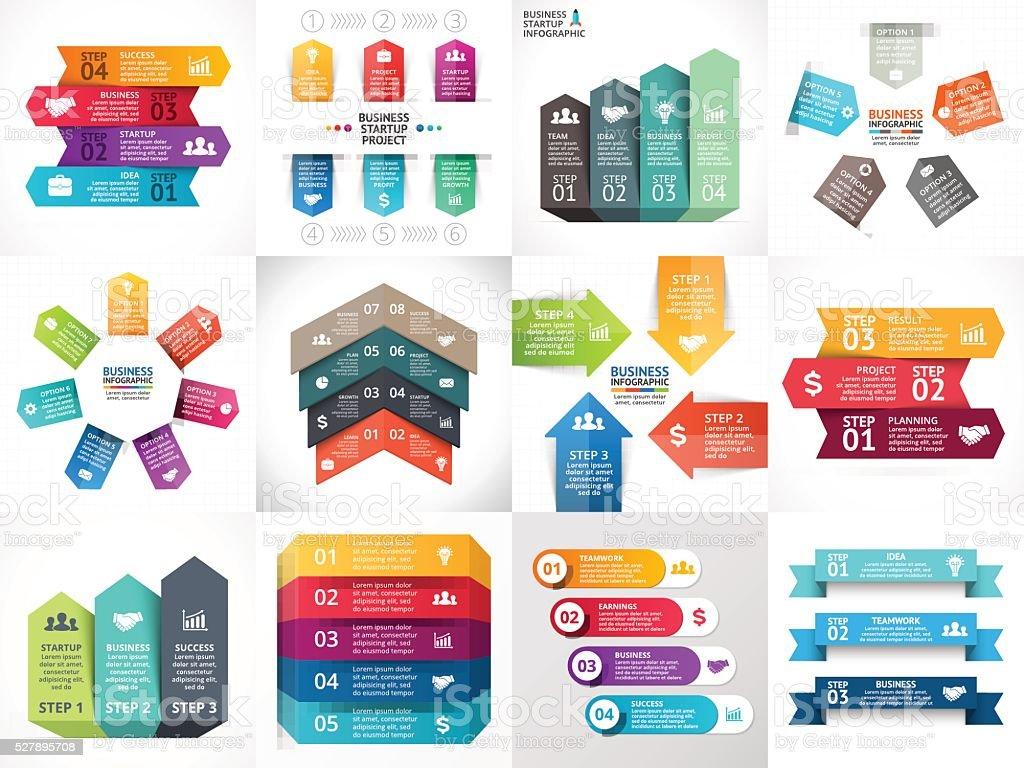 Vector de flechas infographics, diagrama, plazo gráfico, una presentación gráfica. Arranque de negocios - ilustración de arte vectorial