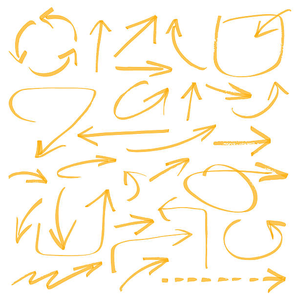 vector arrows marker drawing series - arrows - color can be changed by one click bending stock illustrations