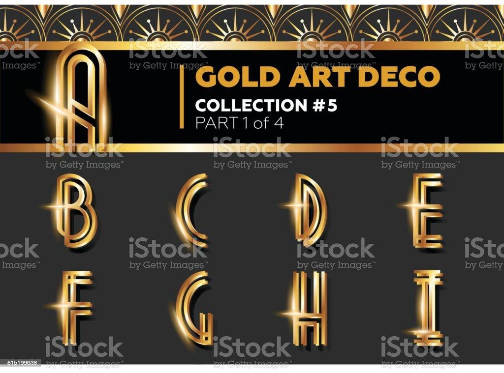 Vector Art Deco 3D Font. Shining Gold Retro Alphabet. Gatsby Style. vector art illustration