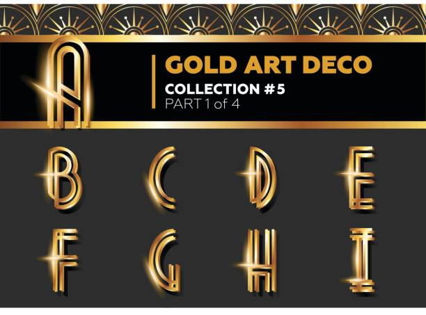 vector art deco 3d font. shining gold retro alphabet. gatsby style. - 1920s style stock illustrations, clip art, cartoons, & icons