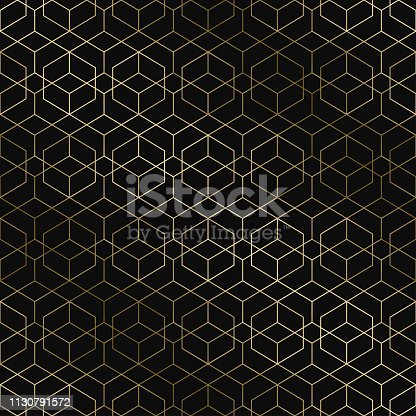 Vector art deco geometric pattern - seamless luxury gold gradient design. Rich endless ornamental background.