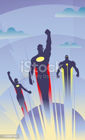 An art deco style vector illustration of a trio of superheroes flying in the air with clouds in the background. Wide space available for your copy. put your logo on the chest.