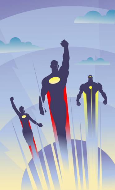 Vector Art Deco Style Flying Superhelden-Illustration – Vektorgrafik
