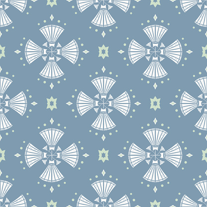 Vector Art Deco Style inspired Geometric Lilies on Blue seamless pattern background.