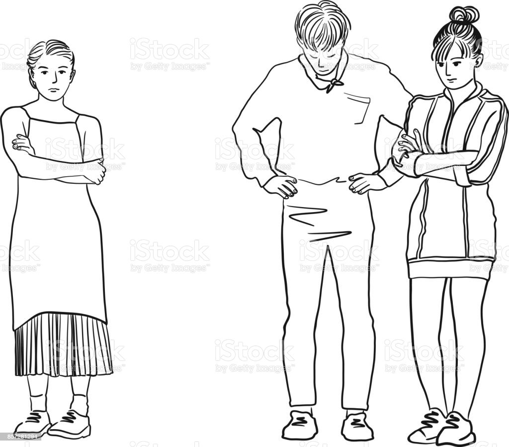 Vector art drawing of man in between two woman, Young sad women standing with her arms crossed, Love triangle. Difficult choice. vector art illustration