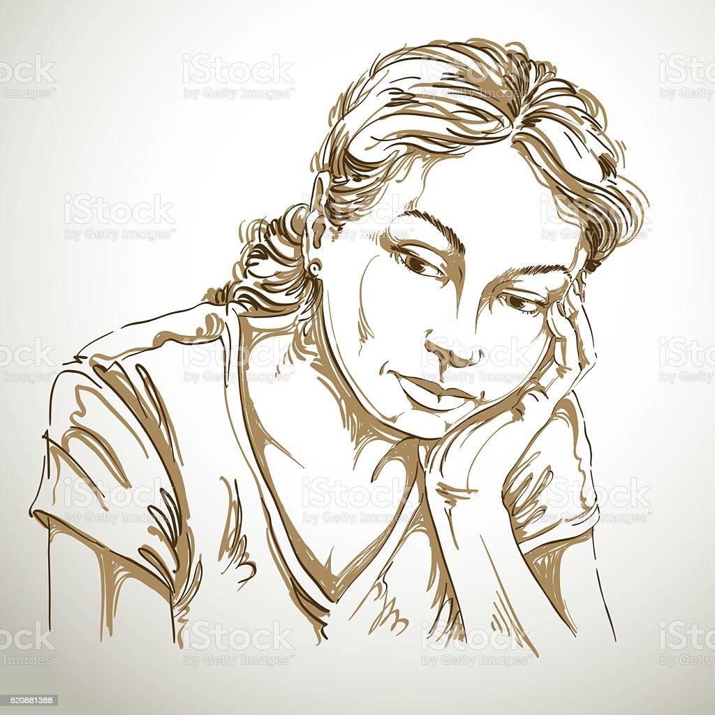 Vecteurs De Dessin Portrait De Triste Et Déprimé Femme