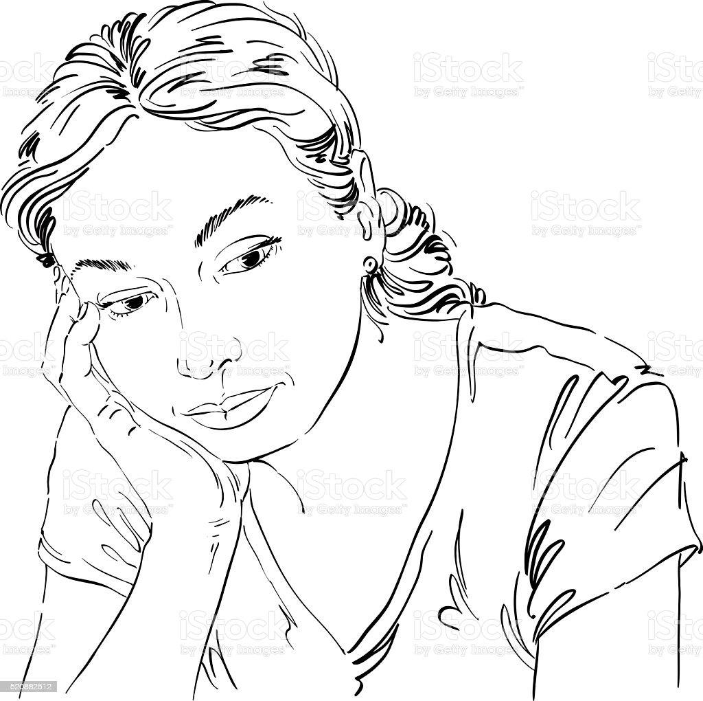 Vecteurs De Dessin Portrait De Triste Et Deprime Femme Pensant