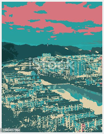 istock Vector art engraving style painting chinese classical city landscape,Photographic Effects Illustration,Abstract Backgrounds,AnHui,Keemun County,China 1340457364