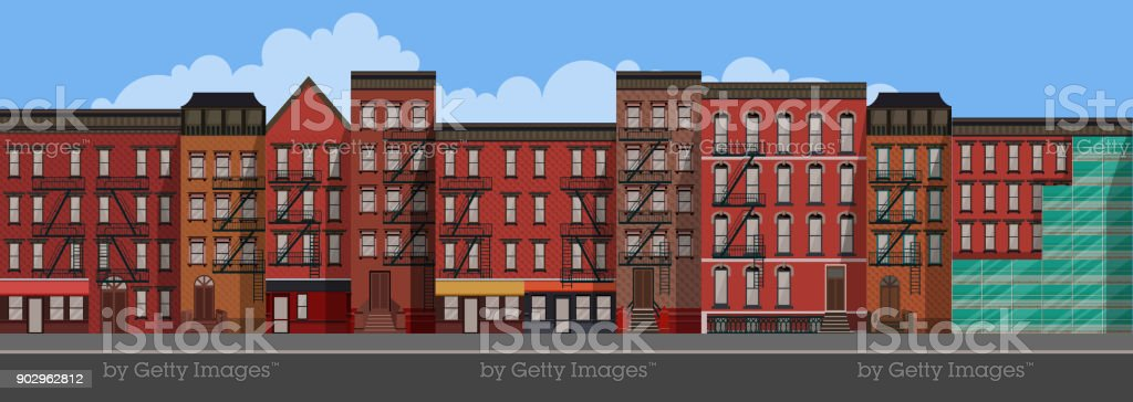 Vector Art Flat Style illustration of a New York City. Brooklyn Urban Scene. vector art illustration