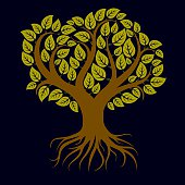 Vector art illustration of green tree with strong roots. Tree