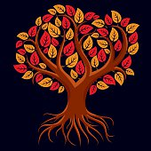 Vector art illustration of tree with strong roots. Autumn season