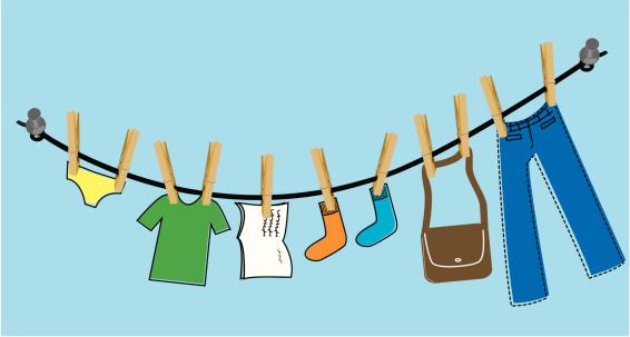 Vector Art, Illustration: student clothes line