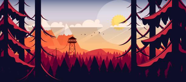 stockillustraties, clipart, cartoons en iconen met vector kunst landschap met vuur uitkijktoren - illustraties van bosbrand