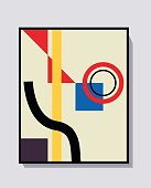 Vector Poster and collage template Kandinsky and Bauhaus art style. Trendy simple and minimalist 20s modern art. For print and wall art.