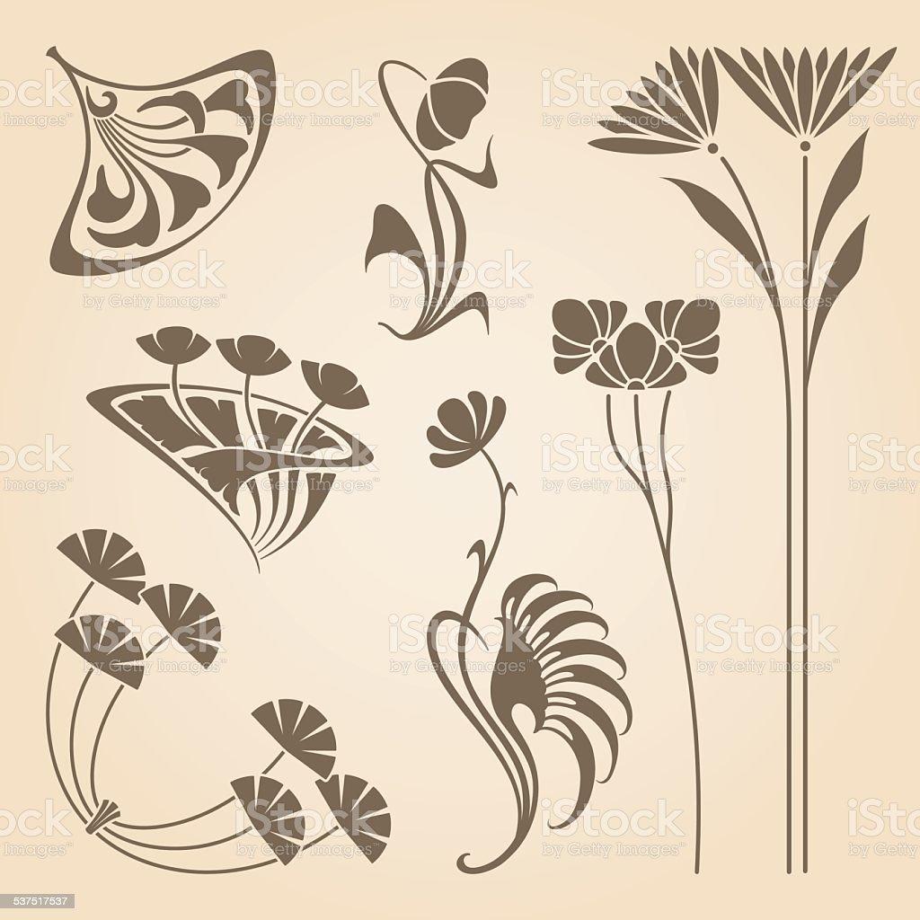 Vector art nouveau elements. vector art illustration