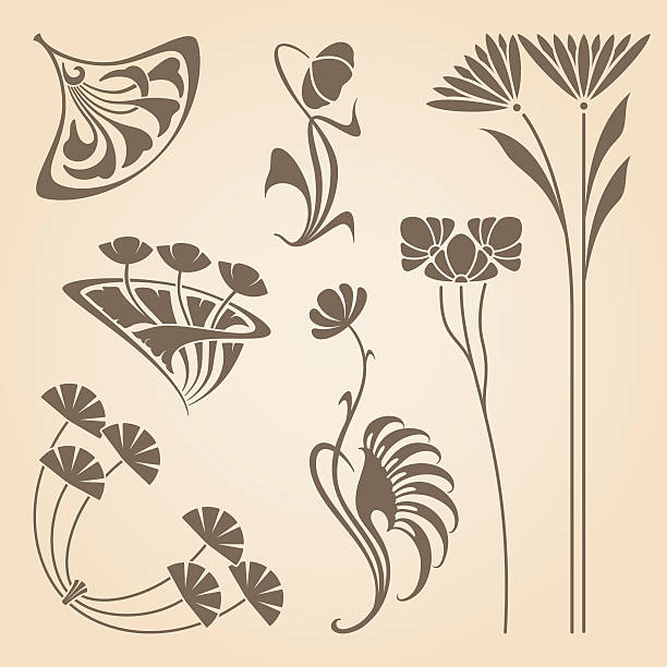 Vector art nouveau elements. vector art illustration