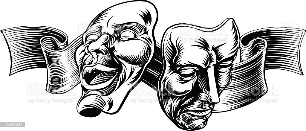 Vector art of happy and sad, bow dramatic theater masks vector art illustration