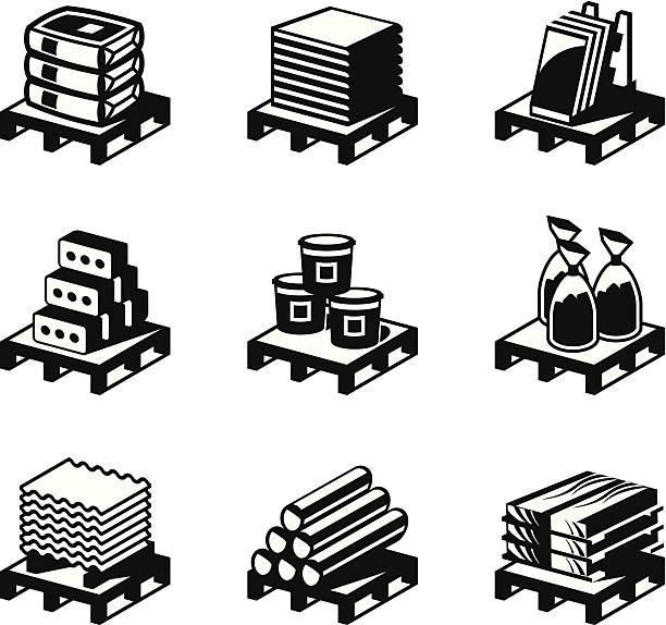 stockillustraties, clipart, cartoons en iconen met vector art of nine construction and building material set - pallet