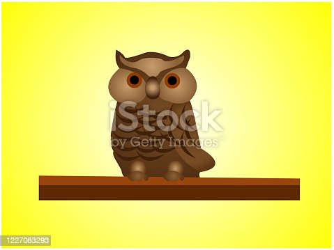 istock Vector art of owl on a branch, editable eps file available 1227083293