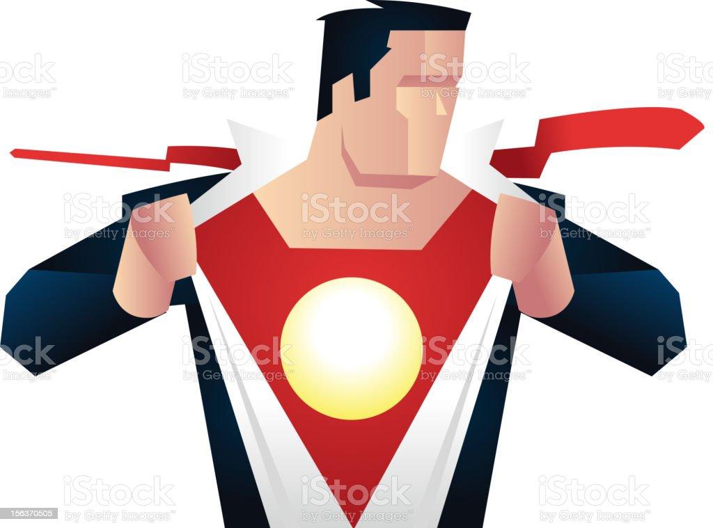 Vector art of superhero removing his disguise vector art illustration