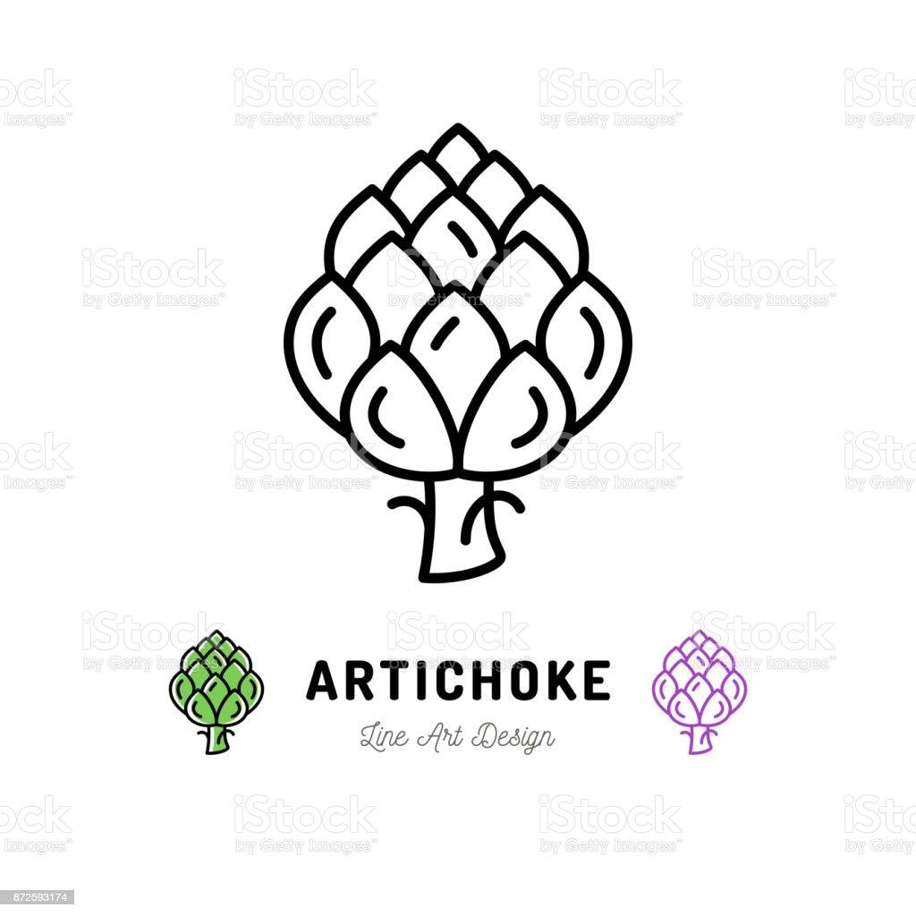 Vector Artichoke icon Vegetables logo. Thin line art design vector art illustration