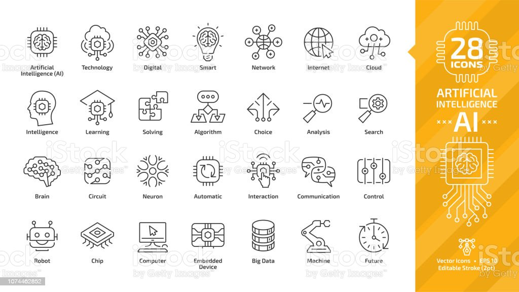 Vector Artificial Intelligence Editable Stroke Thin Outline Icon Set