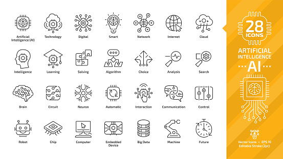 Vector artificial intelligence editable stroke thin outline icon set with machine learning, smart robotic and cloud computing network digital AI technology: internet, solving, algorithm, choice sign. clipart