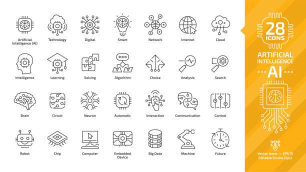 ilustraciones, imágenes clip art, dibujos animados e iconos de stock de icono de vector inteligencia artificial editables de movimiento fino contorno conjunto con máquina de aprendizaje inteligente robótica y tecnología de ai digital red de computación en nube: internet, problemas, algoritmo, signo de elección. - robot