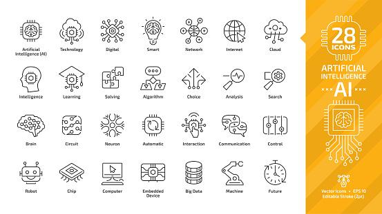 向量人工智慧可編輯行程薄輪廓圖示集與機器學習 智慧型機器人和雲計算網路數位人工智慧技術 互聯網 解決 演算法 選擇符號向量圖形及更多中風圖片