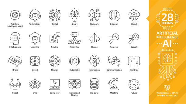 Vector artificial intelligence editable stroke thin outline icon set with machine learning, smart robotic and cloud computing network digital AI technology: internet, solving, algorithm, choice sign. Vector artificial intelligence editable stroke thin outline icon set with machine learning, smart robotic and cloud computing network digital AI technology: internet, solving, algorithm, choice sign. information technology stock illustrations