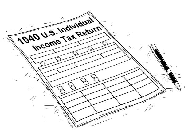 Vector Artistic Drawing Illustration of 1040 Individual Income Tax Return Form Vector artistic pen and ink drawing illustration of 1040 Income Tax Return Form. 1040 tax form stock illustrations