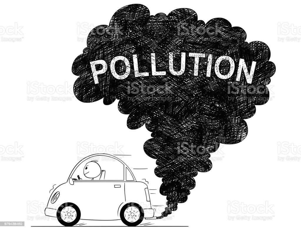 Vector artistic drawing illustration of car air pollution royalty free vector artistic drawing illustration of