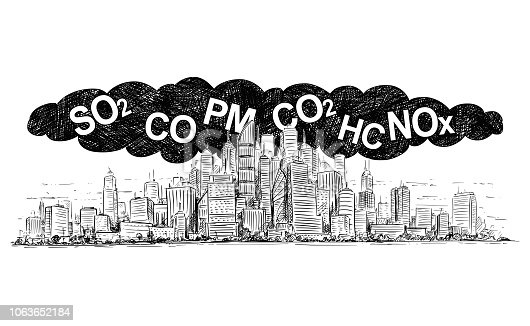 istock Vector Artistic Drawing Illustration of City Covered by Smoke and Air Pollution 1063652184