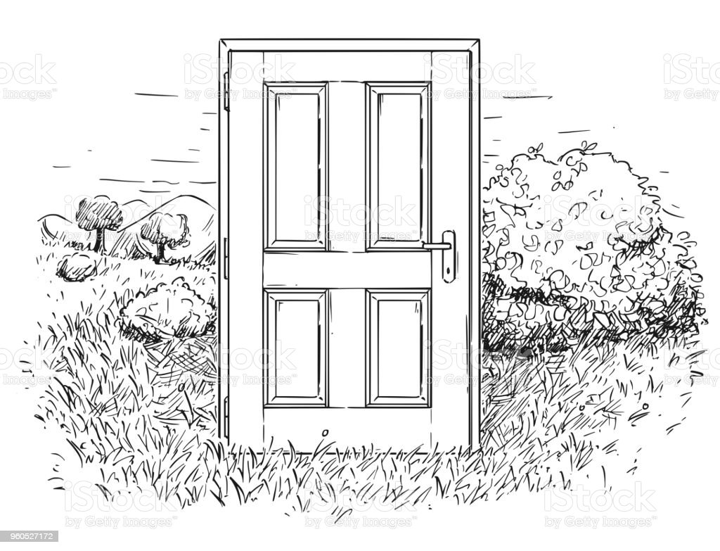 closed door drawing. Vector Artistic Drawing Illustration Of Closed Door In Beautiful Nature Landscape Royalty-free O