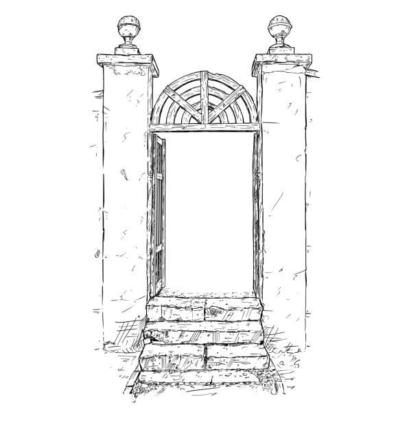 vektor-künstlerische zeichnung illustration dekorierten garten tor - gartenskulpturkunst stock-grafiken, -clipart, -cartoons und -symbole