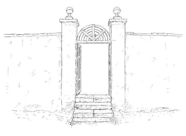 vektor-künstlerische zeichnung illustration dekorierten garten tor mit wand - gartenskulpturkunst stock-grafiken, -clipart, -cartoons und -symbole