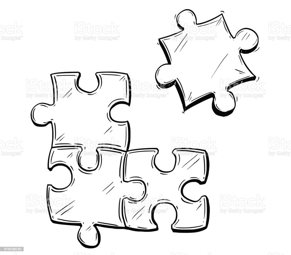 Vector artistic drawing illustration of four jigsaw puzzle pieces stock vector art more images - Puzzle dessin ...