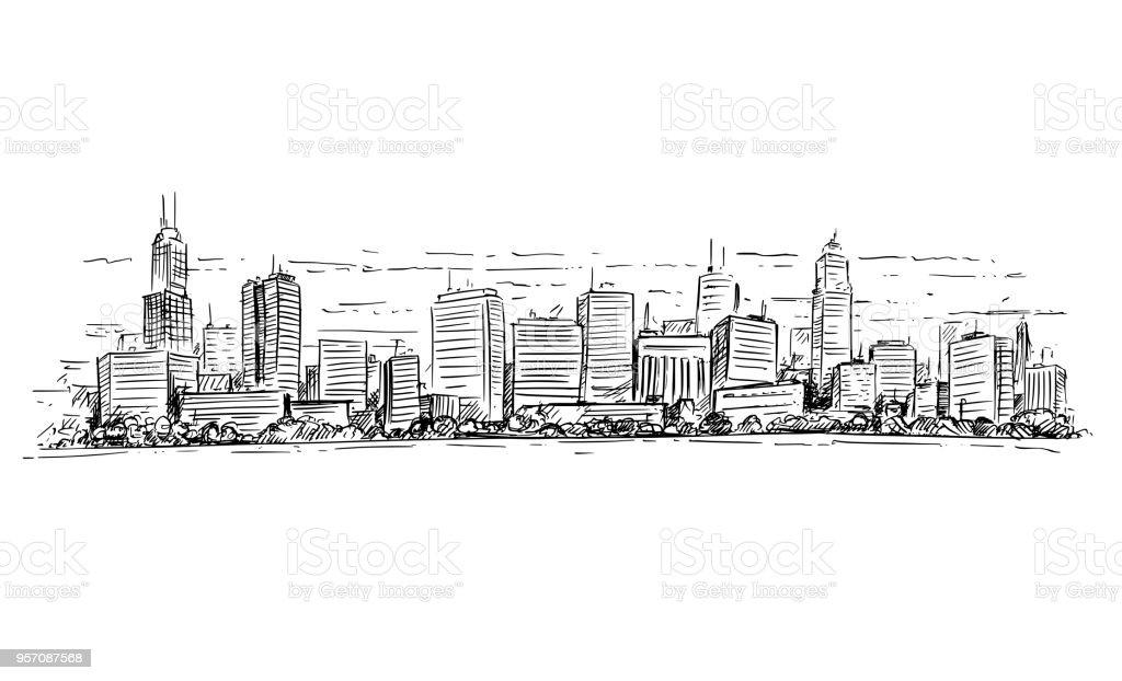 Tekeningen Van Gebouwen.Vectorillustratie Artistieke Tekening Van Generic Stad Hoge