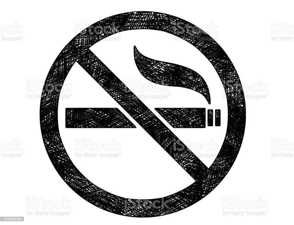 ない喫煙記号または記号のベクトル芸術の描画イラスト いたずら書きの