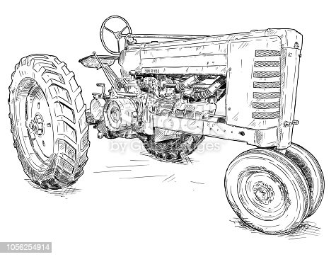 Vector artistic pen and ink drawing of old tractor. Tractor was made in Iowa, USA or US between 1934 and 1952 or 30's, 40's , 50's.