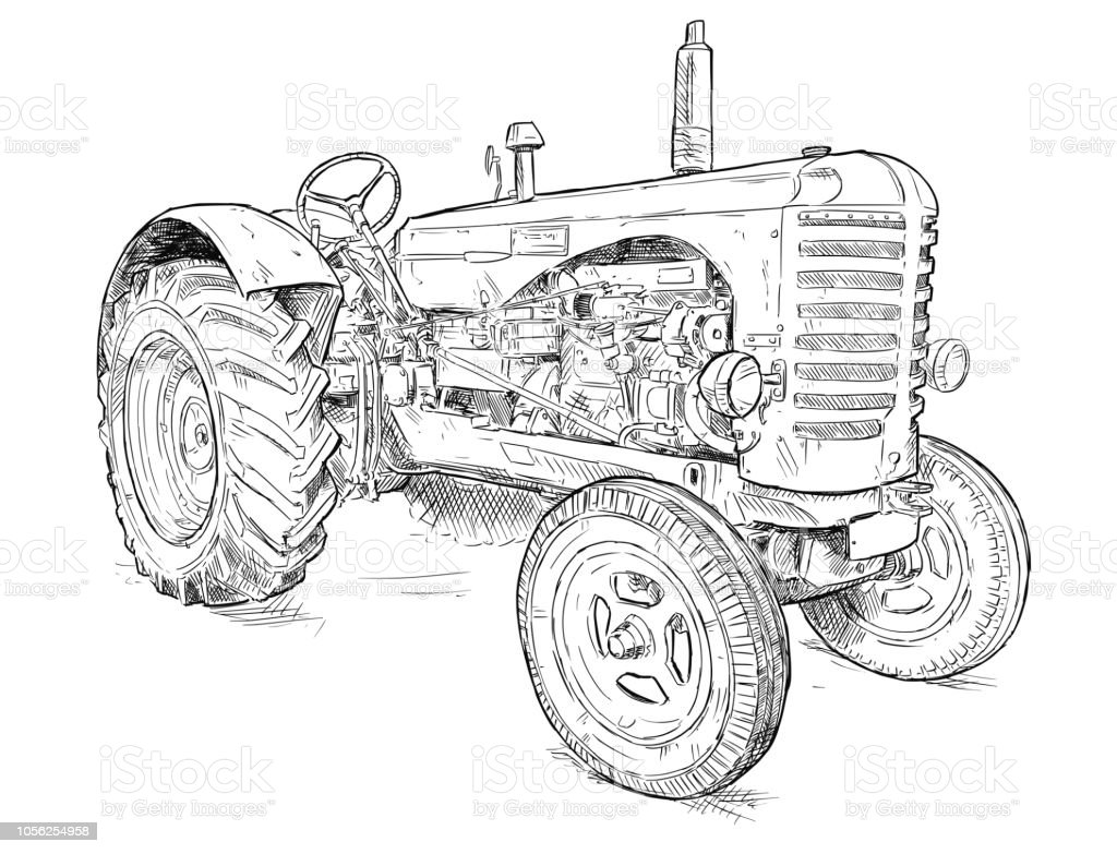 Vector Artistic Drawing Illustration of Old Tractor vector art illustration