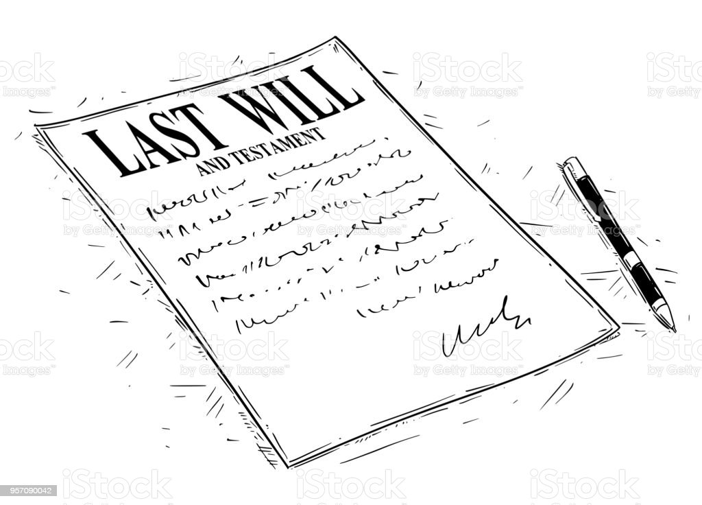 Vector Artistic Drawing Illustration of Pen and Last Will and Testament Document to Sign vector art illustration