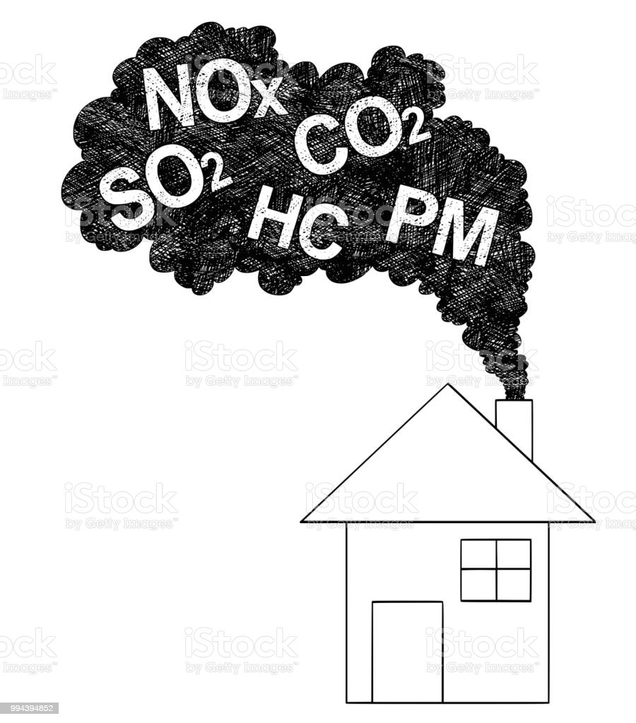 Vector artistic drawing illustration of smoke coming from house chimney air pollution concept royalty