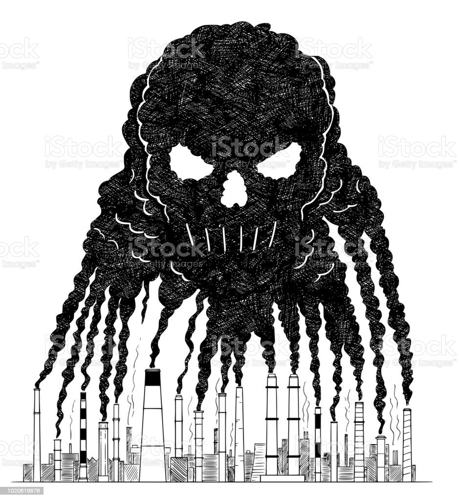 Vector artistic drawing illustration of smoke from